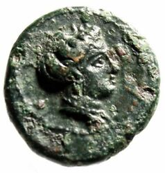 Bruttium Terina Ae16 Nymph And Nike Seated On Cippus Good Vf Scarce