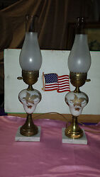Electric Oil Lamp Not Converted Mid-century Gold Trim Marble And Brass Set 2