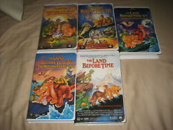 5 Vintage Collectible The Land Before Time Ll, Lll, Lv, And V Vhs Disney Videos.