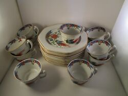 Vintage Wood And Sons Patented 1917 Orange Flower Bird Set Of Snack Trays And Cups
