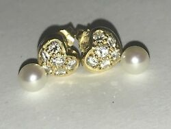 And Co. Elsa Peretti Diamond/gold 18k/pearls By The Yard Earrings