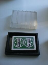 Art Deco Vintage Bakelite And Frosted Glass Playing Card Holder Rare