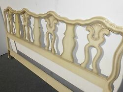 Vintage French Country King Size Headboard Cream Carved Wood Hollywood Regency