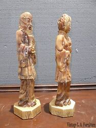 Pair Vintage Oriental Asian Style Man And Woman Marble Statues Sculptures 18 Tall