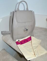 NWOT $525 TORY BURCH quot;Brittenquot; Pebbled Leather Backpack French Gray Silver tone $322.50