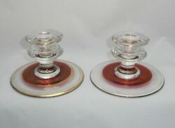 Pair of Vintage RUBY RED Cranberry Flashed Glass Candlestick Holders Gold Rings