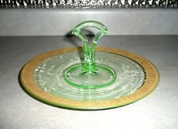 Vintage Green Gold Encrusted Glass Center Handled Tray Plate Uranium