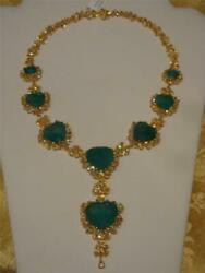 BEST OFFER$295000 GAL CERTIFIED 18KT GOLD 145CT EMERALD YELLOW DIAMOND NECKLACE