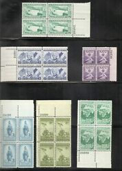 United States. 20 Different Plate Blocks of Four, 1940s, 1950s. MNH 1