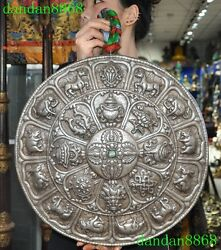 Tibet Silver Inlay Turquoise Eight Treasures 12 Zodiac Amulet Wall Hanging Plate
