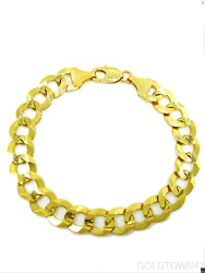 Solid 14k Yellow Gold Shiny Cuban Thick Bracelet 9