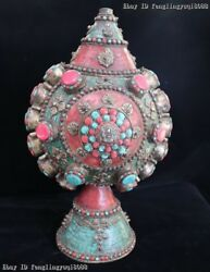 Old Nepal Tibet Folk Copper Inlay Turquoise Ruby Coral Vase Pot Snuff Bottle