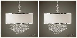 Two 22 Fascination Floating Crystal Pendant Hanging Shade Chandelier Lights