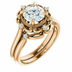 Antique Style Engagement Ring And Band Set
