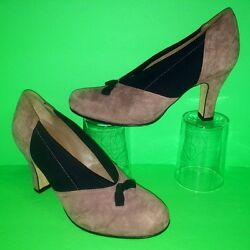 375 Anyi Lu Heart Suede Leather Bow Elastic Side Women Pump Heel Shoes 35.5 5.5