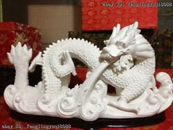 China Handwork De Hua White Porcelain Lucky Fly Dragon Play Spit Water Statuary