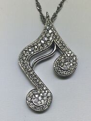 B And Co. .950 Platinum 16 Paved Diamond Musical Note Necklace Retail 6285