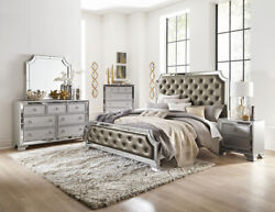 Silver Gray Mirrored Crystal Tufted Queen Bed N/s Dresser Bedroom Furniture Set