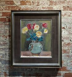 Masao Naraoka -red And Yellow Roses In Still Life - Oil Painting
