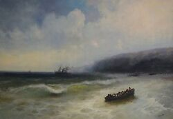 Seascape Oil Painting, Antique Style, Large Size Handmade Artwork, One Of A Kind