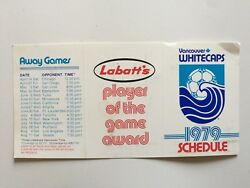 Vancouver Whitecaps 1979 Nasl Game Schedule Pamphlet Rare
