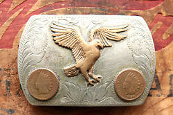 Vintage Comstock Hand Engraved Eagle Indian Chief Pennies Western Belt Buckle