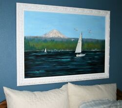 Tacoma - Commencement Bay - Mt. Rainier - Oil Painting In Frame