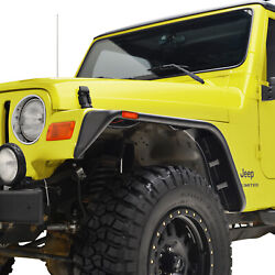 Fit 97-06 Jeep Wrangler Tj 4pcs Flat Style Abs With Side Led Fender Flares