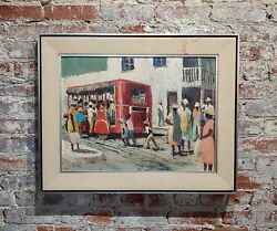 Jack Dudley -last Red Bus In The Neighbourhood -oil Painting C.1950/60s