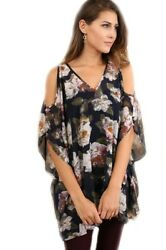 Umgee Floral Print V-neck Oversized Tunic With Cutout Sleeves