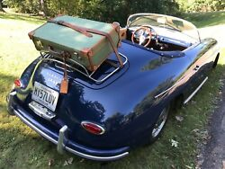 Vintage 1940and039s Canvas And Saddle Leather Porsche 356 Luggage Rack Suitcase R2798