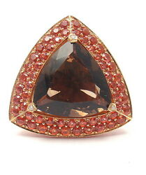 Authentic Mauboussin 18k Rose Gold Topaz Amethyst Citrine Large Triangle Ring
