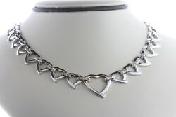 Abstract Looped Love Hearts Accented Link Sterling Silver 925 Necklace - 16