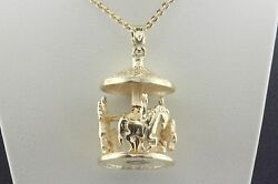 14k Dz Yellow Gold Spinning Merry Go Round Horse Carnival Carousel Charm Pendant