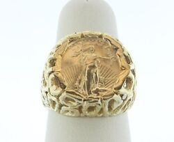14k Yellow Gold Menand039s 5 Liberty 1/10 Oz Coin Ring - Size 8