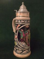 Large Vintage Beer Stein German Drinking Scene W/dachshund, Hops And Wheat St7