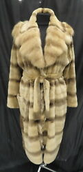 NEW Plucked Sheared Mink & Sable Fur Belted Long Softest Coat M Made in Italy