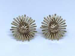 And Co 14k Yellow Gold Vintage Starburst Earrings