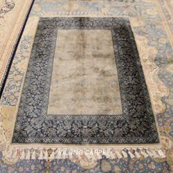 Yilong 3.5and039x5.2and039 Blue Hand Knotted Silk Area Rug Home Furniture Carpet Cqg06a
