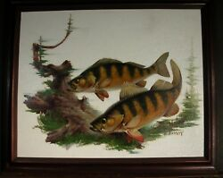 Original Illustration Fred Sweney 1969 Yellow Perch July August 1969 Gamebag