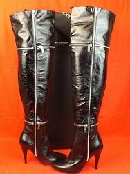 Saint Laurent Ysl Black Patent Leather Fetish 105 Zip Over The Knee Boots 36