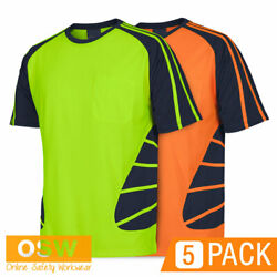 5 X Hi Vis Cool Breathable Safety Spider Tradies/builder Work S/s Tees T-shirts