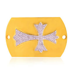 Pave Diamond Religious Cross Sign Connector Finding 18k Gold Women's Jewelry