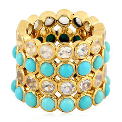15.48ct Moonstone Turquoise 18kt Solid Yellow Gold Band Ring Ethnic Look Jewelry