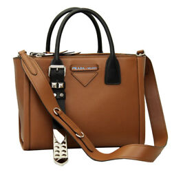 BRAND NEW PRADA CONCEPT BROWN LEATHER TOTE BAG WITH SHOULDER STRAP 1BA175