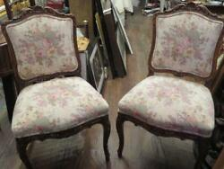 Set Of 2 Grand Estate Victorian Mahagony French Floral Upholstered Fabric Chairs