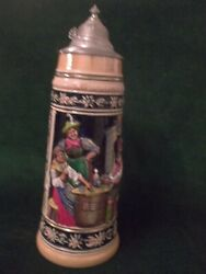 Large Vintage Beer Stein Tyrolean Couple Playing Card Scene  St8
