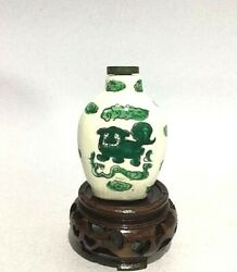 Antique Chinese Porcelain Snuff Bottle Green Lion Hand Paint 18th Century