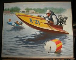 Speed Boat Racing To Win August 1953 William Reusswig Ad And Editorial Illustrator