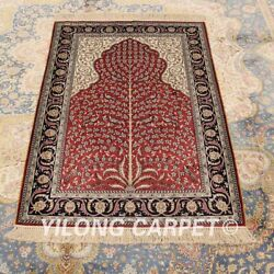 Yilong 2.7x4' Red Hand-knotted Silk Carpet Durable Parlor Area Rug H016a